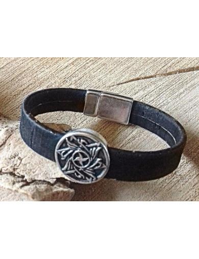 Bracelet liège noir - rond...