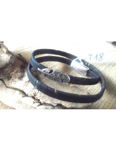 Bracelet double tour gris -...