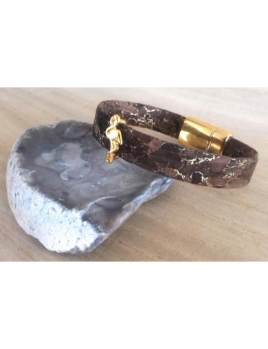 Bracelet liège marron/or -...