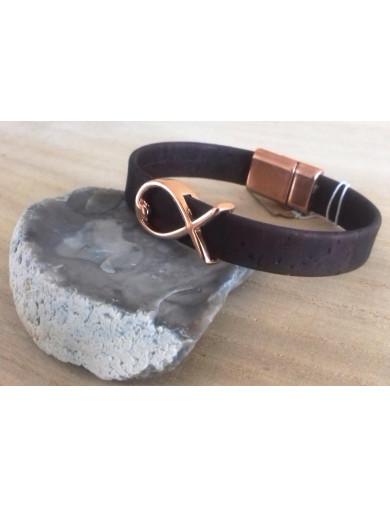 Bracelet liège marron -...