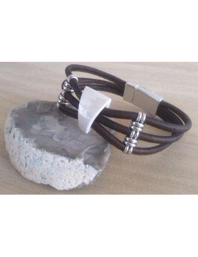 Bracelet 3 cordons bruns -...