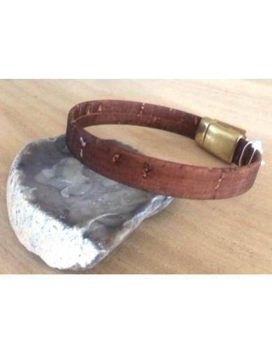 Bracelet simple en liège brun