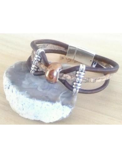 Bracelet 3 cordons liège -...