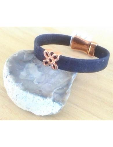 Bracelet liège noir - Fleur...