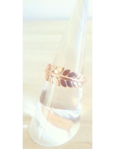 Bague or rose feuille
