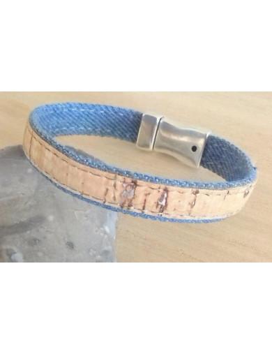 Bracelet liège naturel & jean