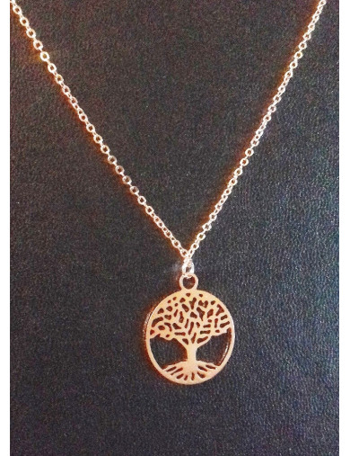 Collier or rose - arbre de vie